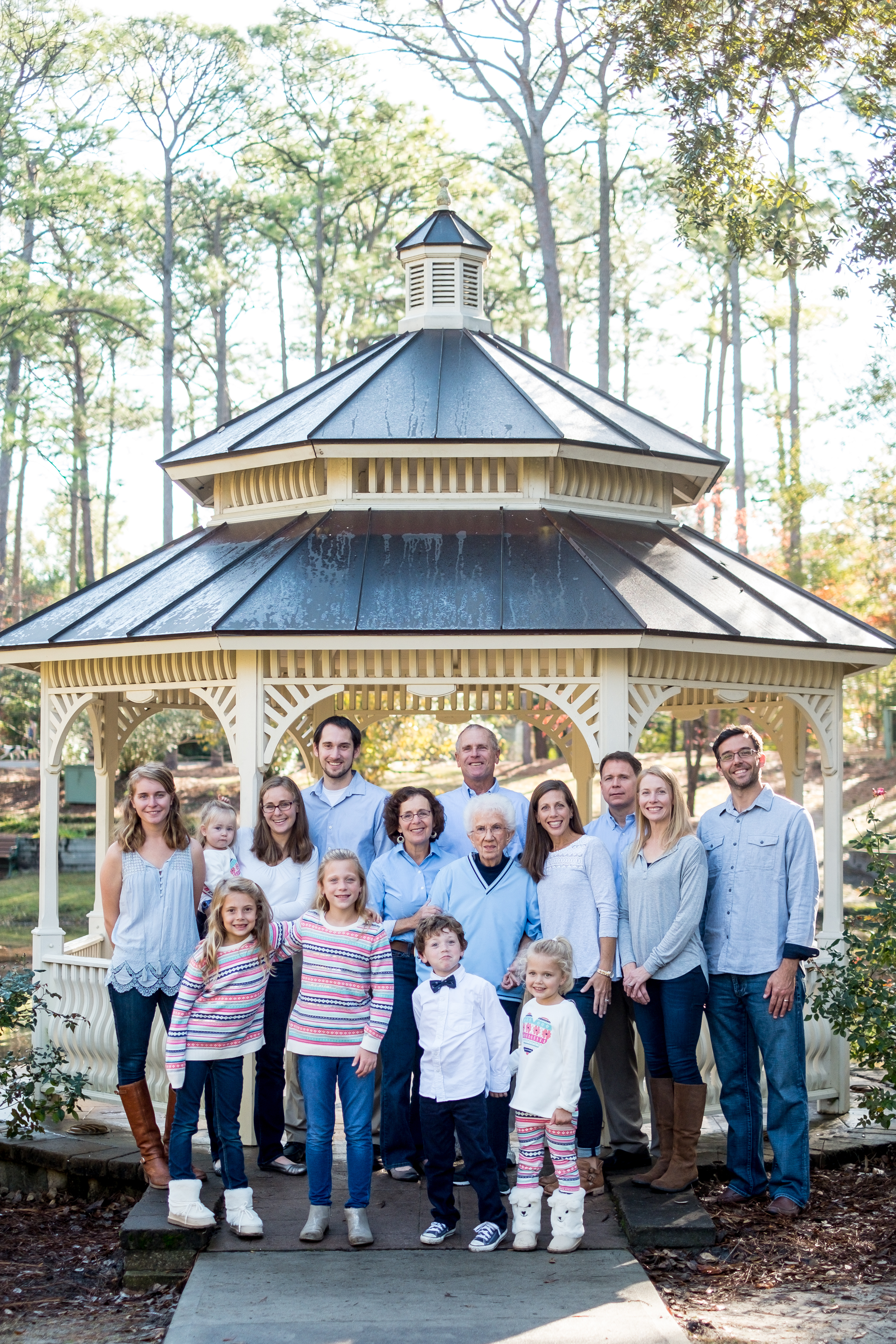 A family photo in front of a gazebo, at Hugh MacRae Park, in Wilmington, NC.