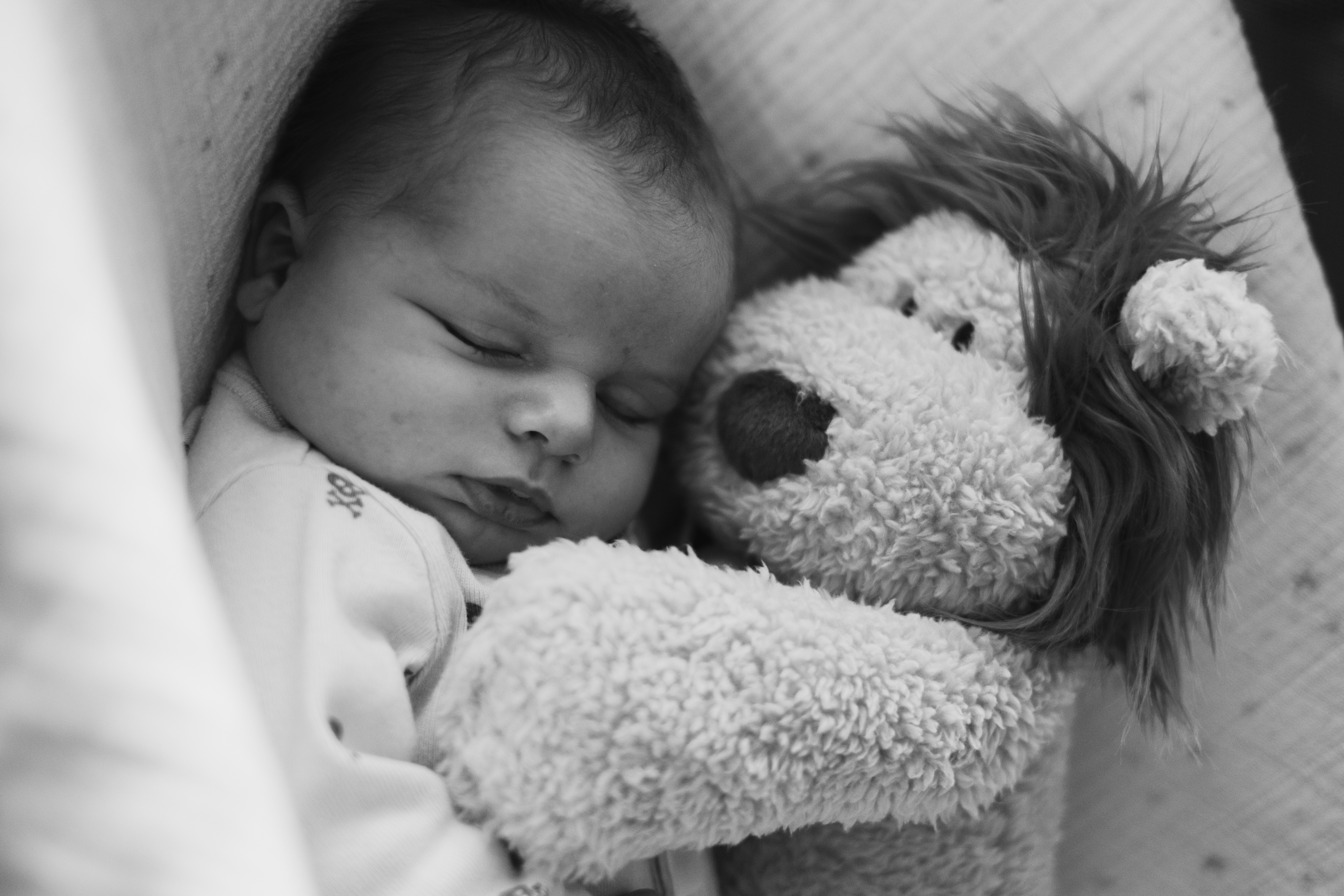 A black and white photo of a baby sleeping with a stuffed lion.