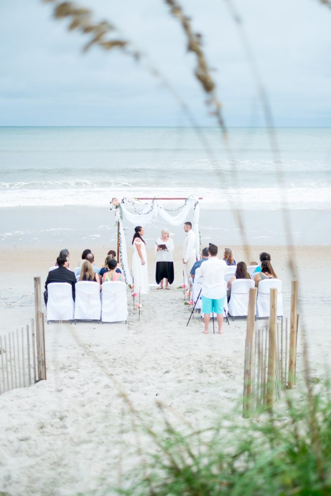 A photo of a wedding ceremony on the beach.