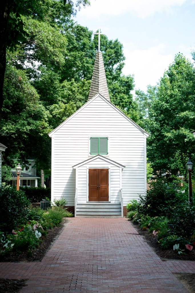 A photo of St. Mark's Chapel, where a wedding took place. Photo taken by Pait Photography, at a wedding at the Mordecai Historic Park, in Raleigh, NC.